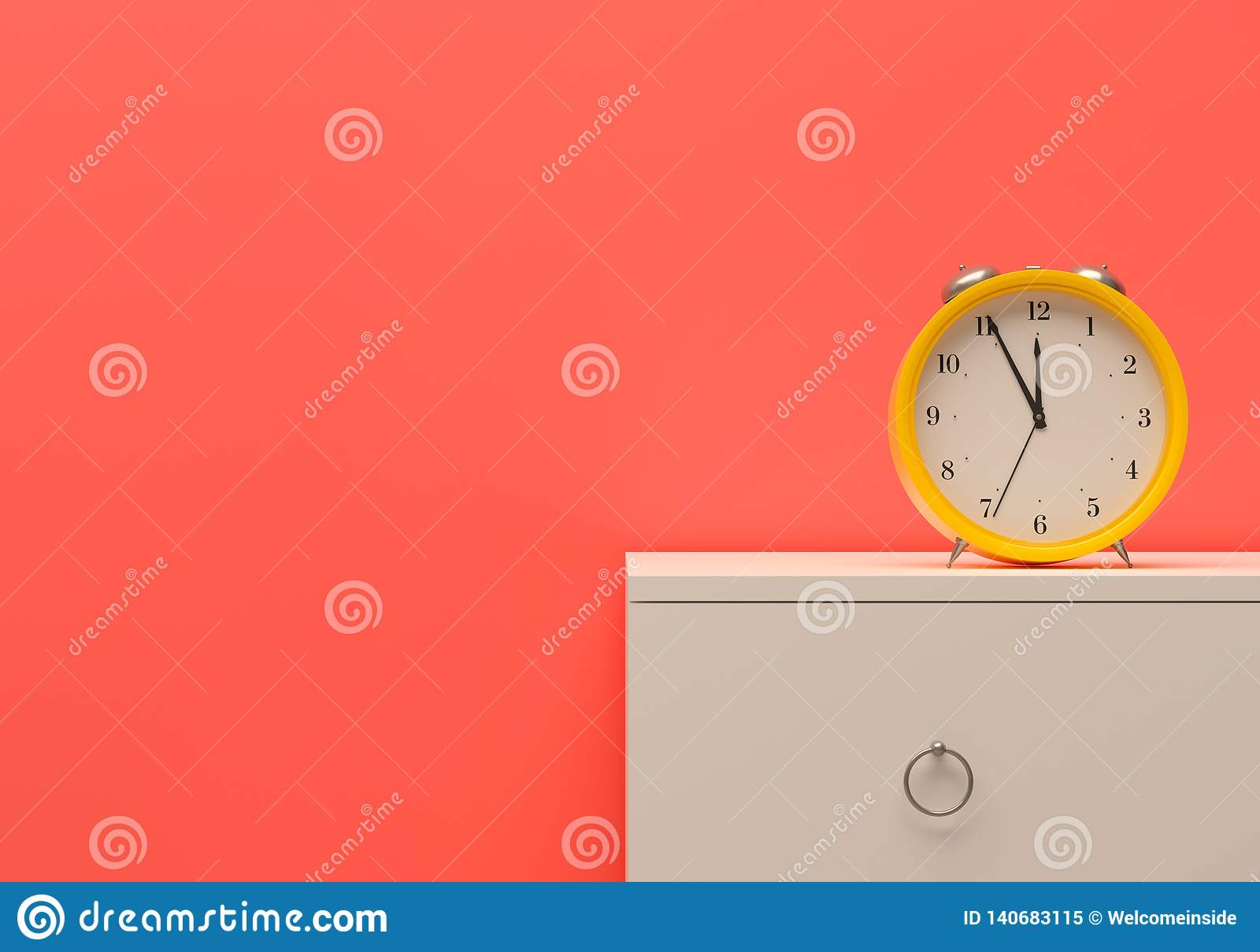 Alarm time management alert Mockup business template On time yellow alarm clock room pink wall white furniture bedside table. 3d i
