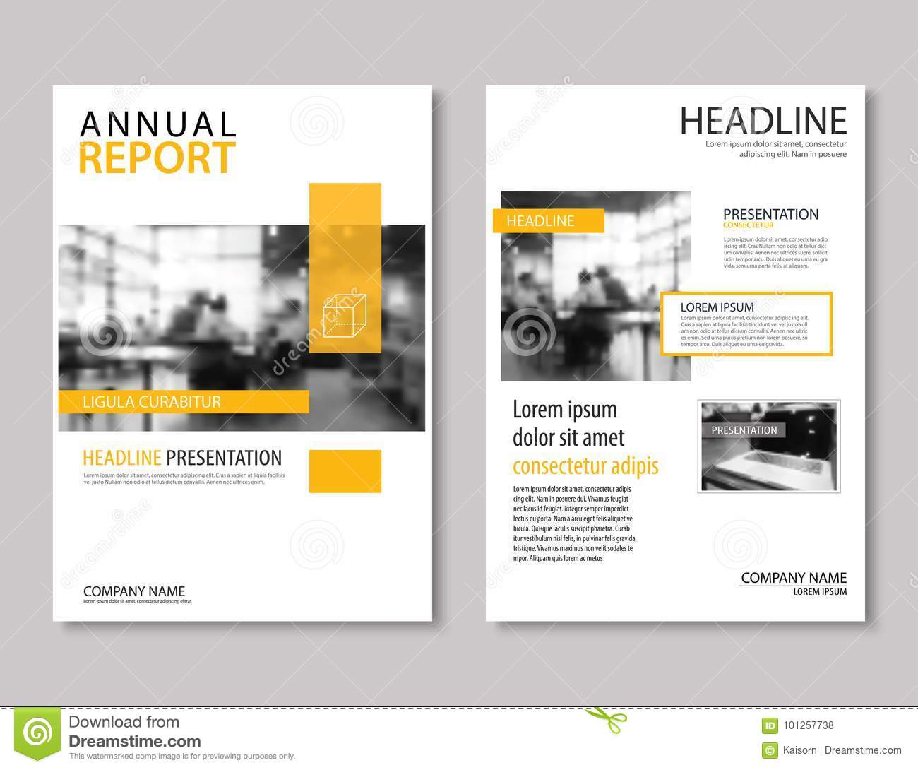 Yellow annual report brochure template A4 size design. Can be us
