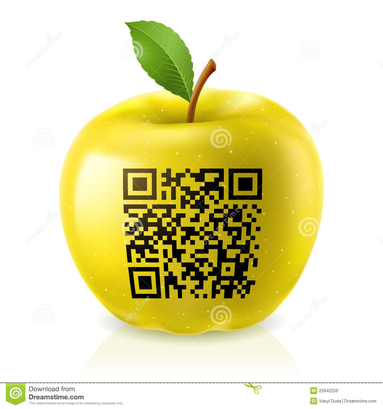 yellow apple and qr code stock vector image of pattern 25842250. Black Bedroom Furniture Sets. Home Design Ideas