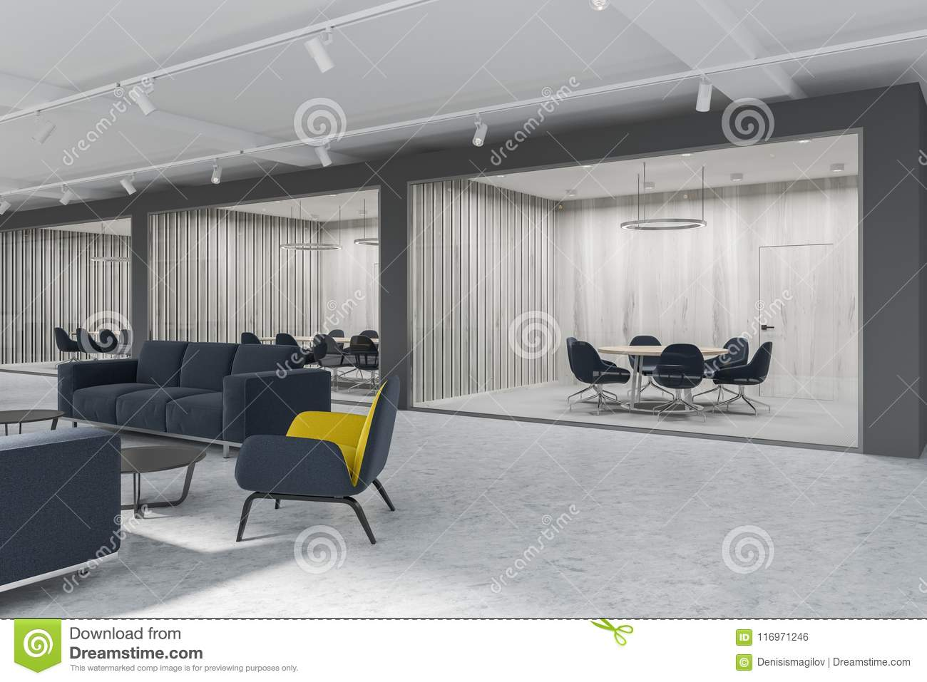 Yellow Armchairs Lobby Meeting Room Side View Stock Illustration Illustration Of Hall Area 116971246