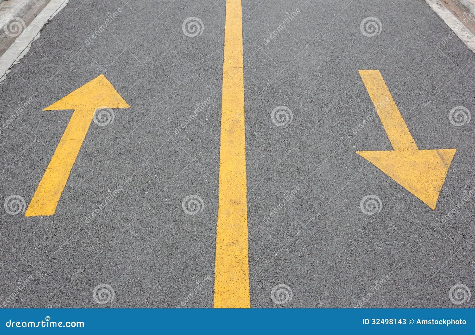 Yellow Arrow Up And Down On Asphalt Street Stock Photos ...