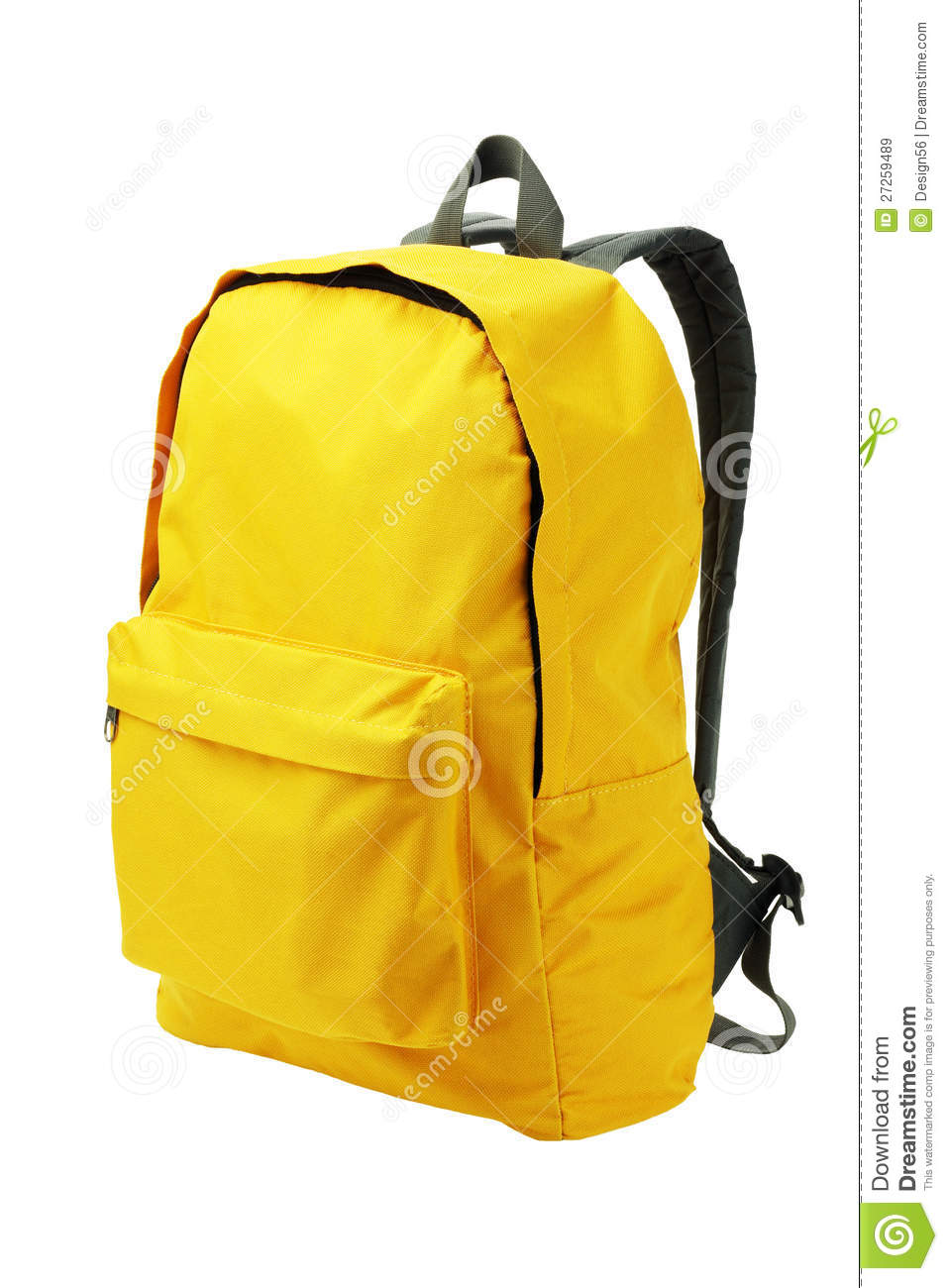 Yellow Backpack Standing on White Background.