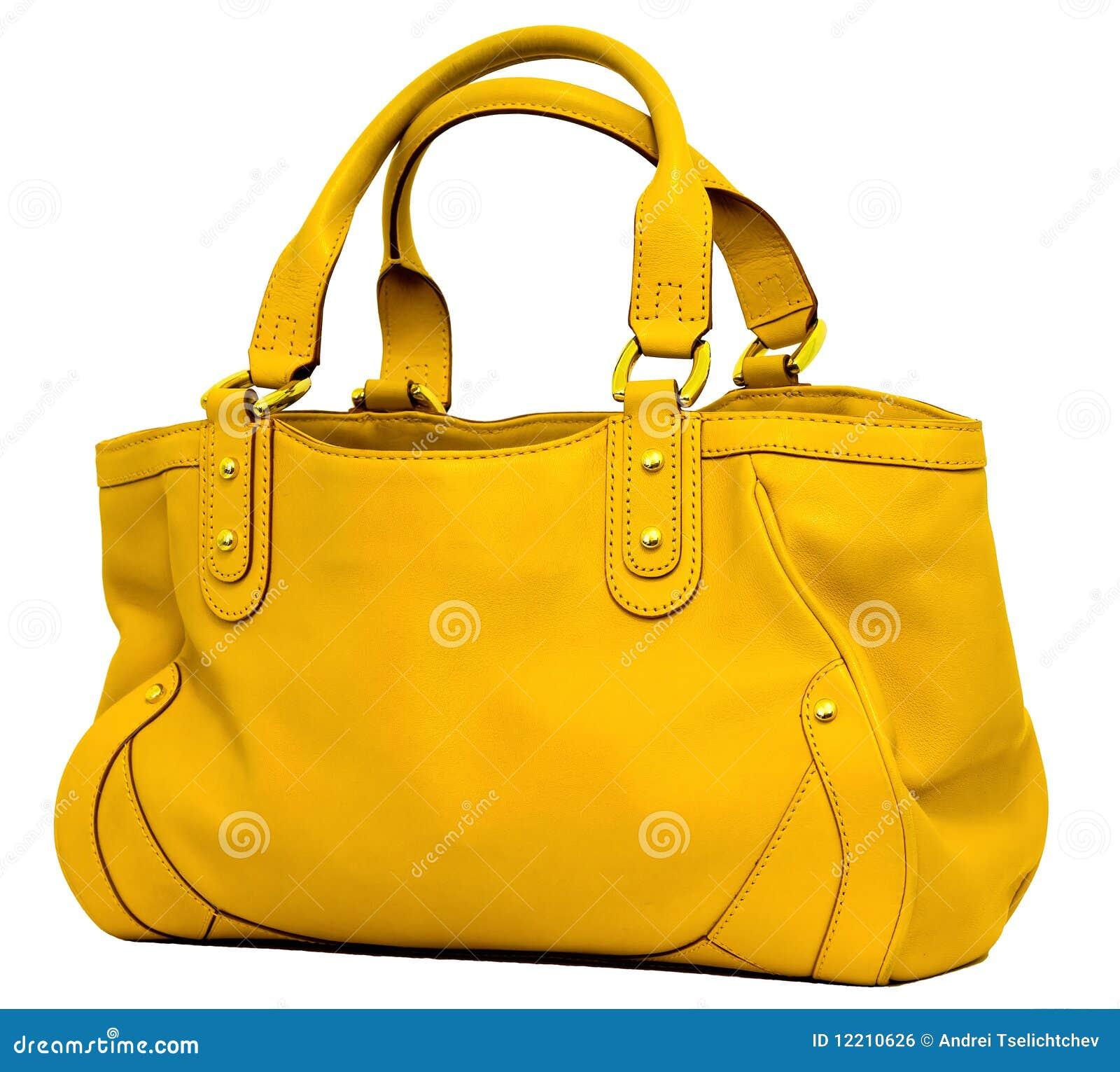 c4b16b116cbc Modern yellow leather women s handbagbag on the white background