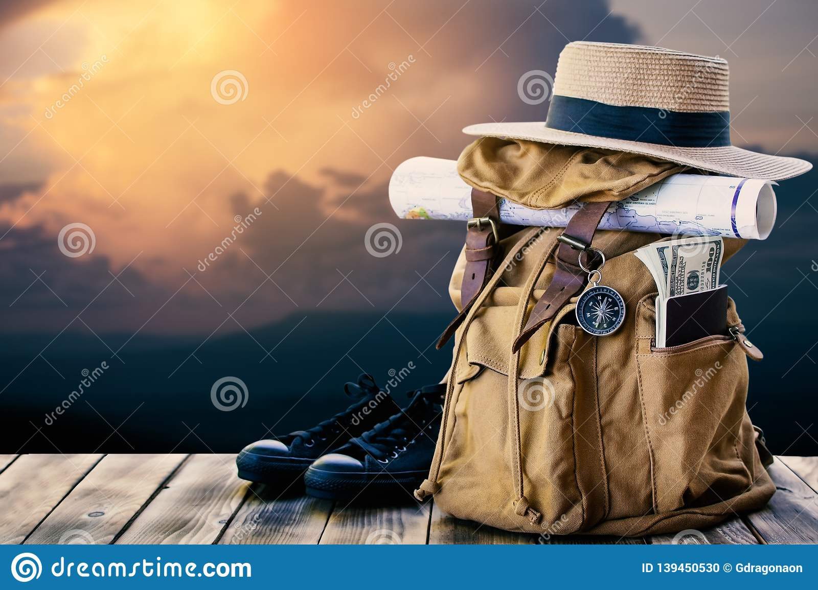 Yellow bag for backpack and nature background