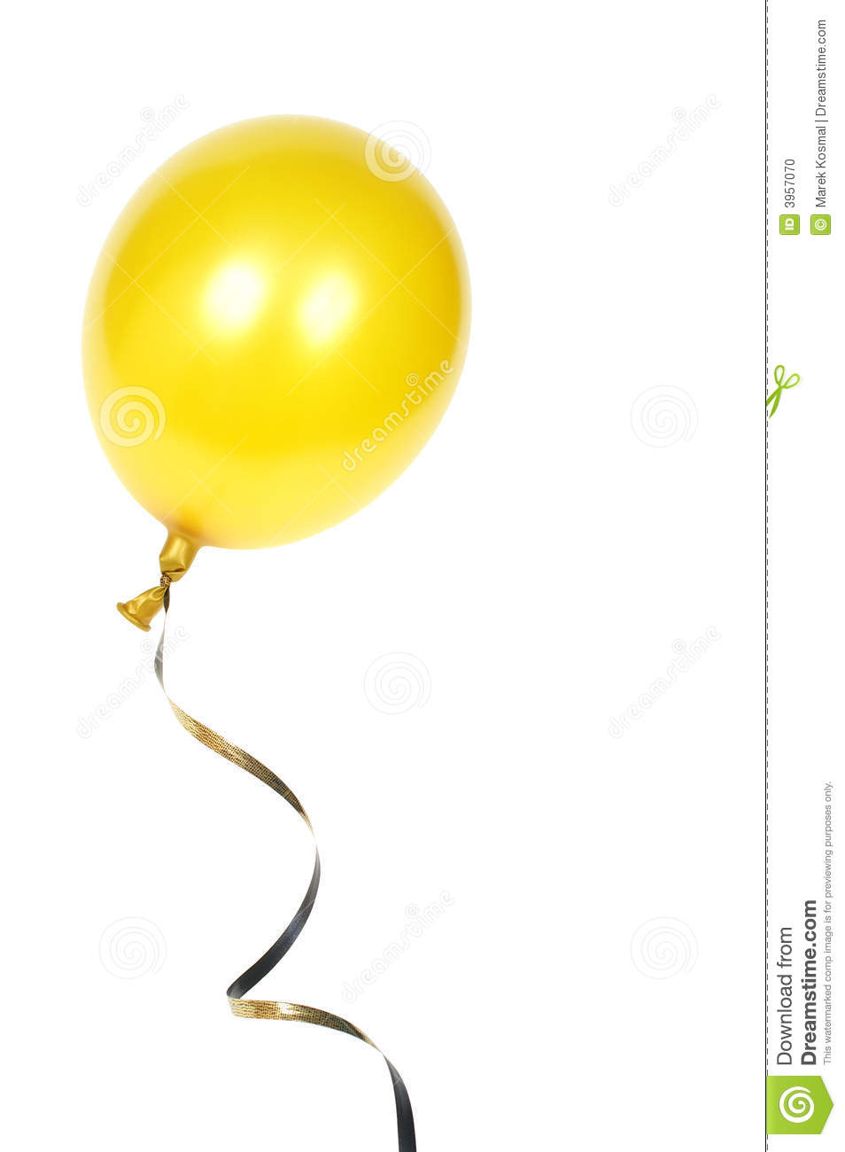 Yellow balloon with ribbon isolated on white background.