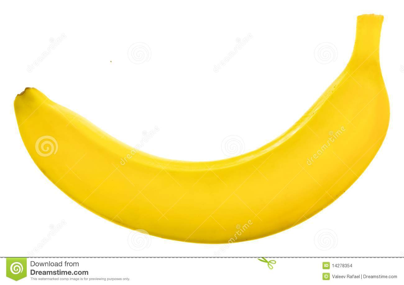 Yellow banana isolated on the white background.