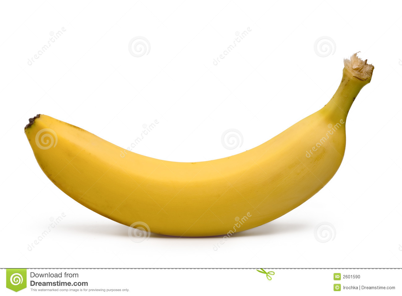 closeup of a yellow banana isolated on white.
