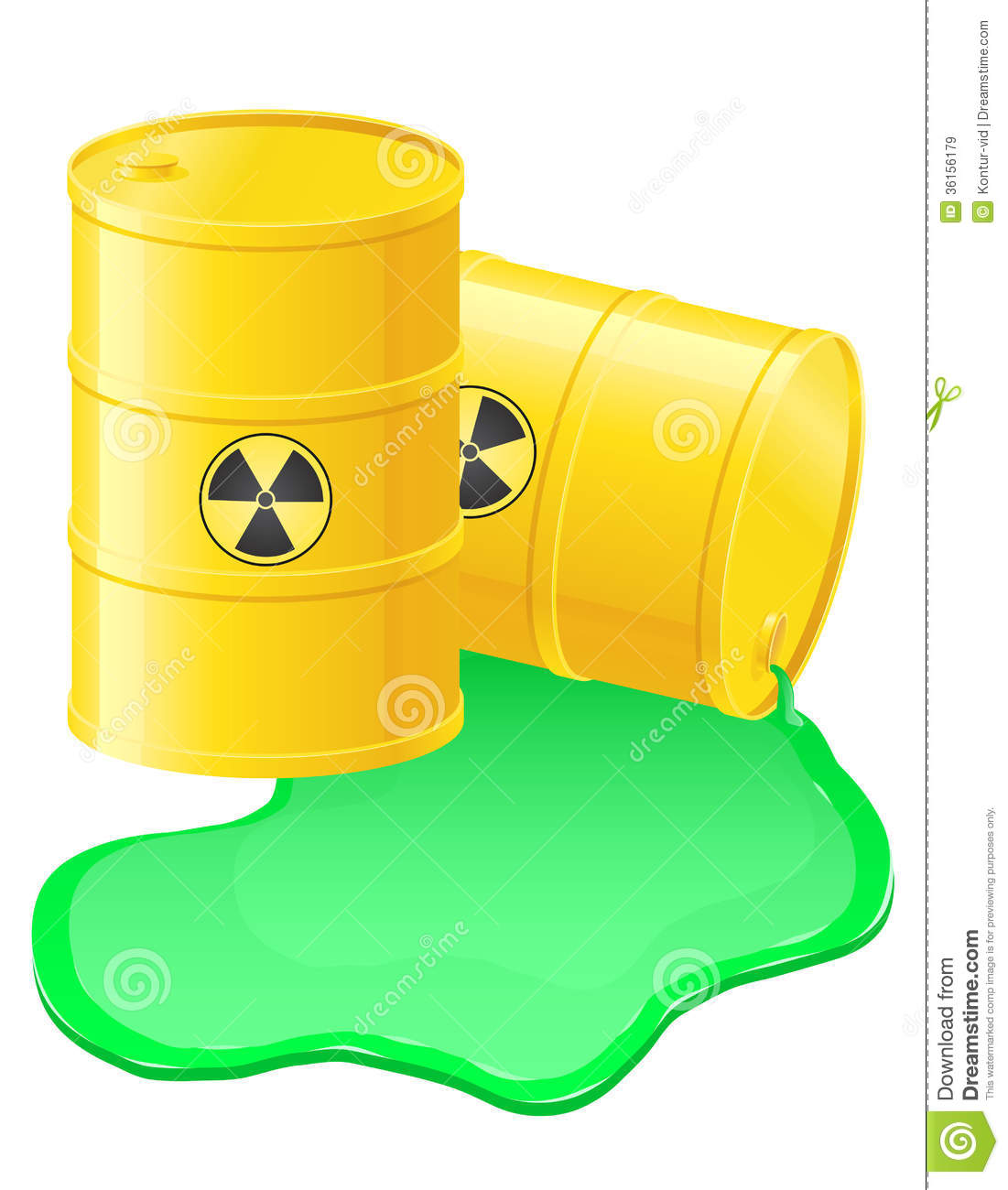 Yellow Barrels Spilled Radioactive Waste Vector Il Royalty