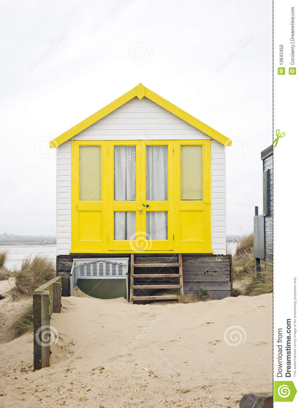 Yellow beach hut stock photo image of doors outdoors for Beach hut style