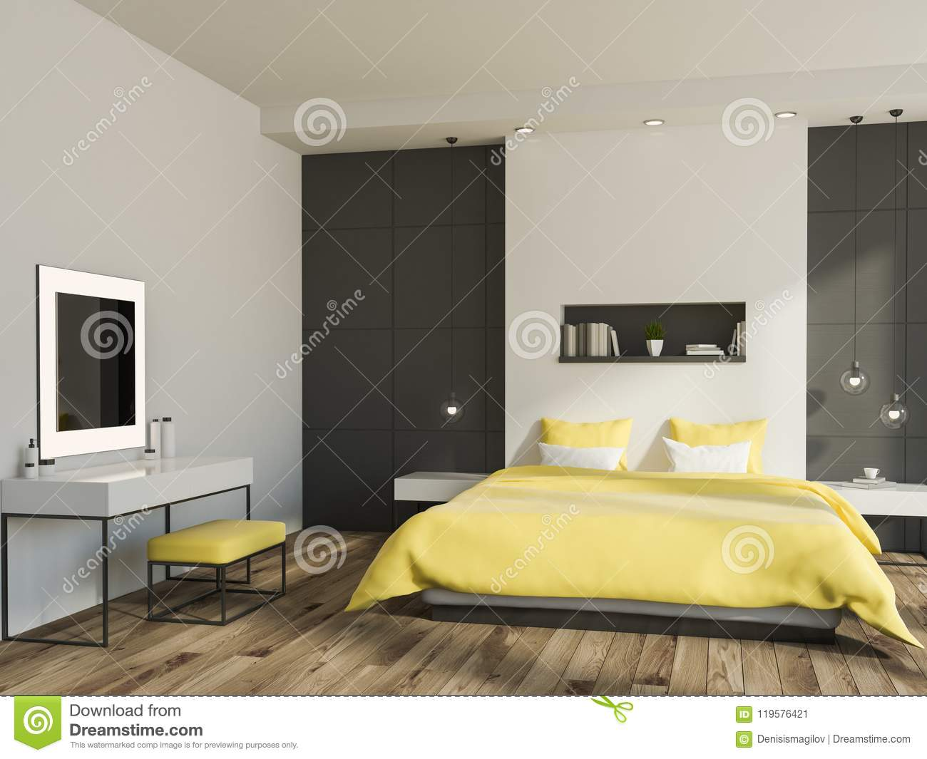 White and gray wall bedroom interior with a yellow bed a shelf above it a wooden floor and a tv set 3d rendering mock up