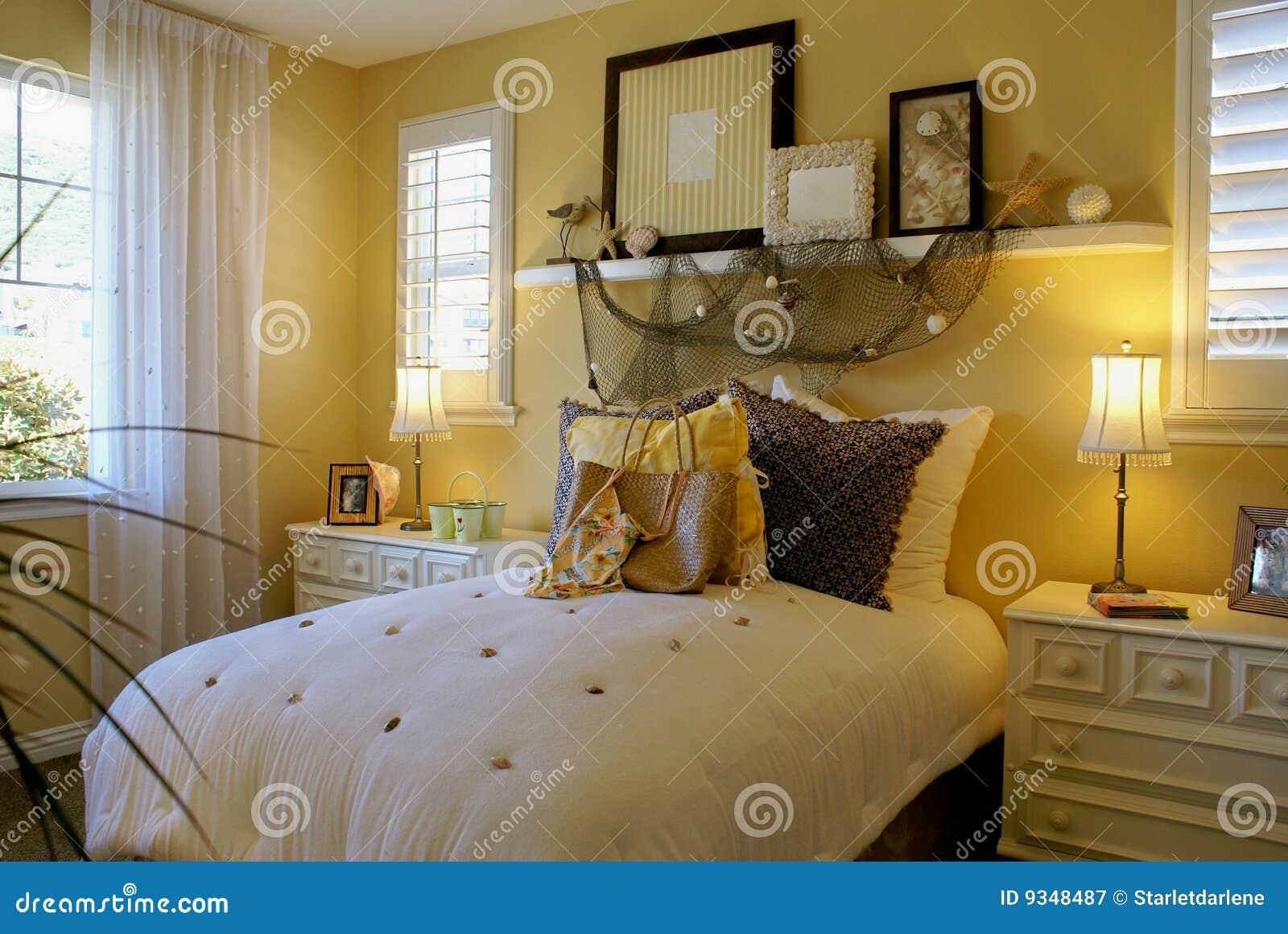 Yellow Bed Room Beach Decor Stock Image Image Of Yellow