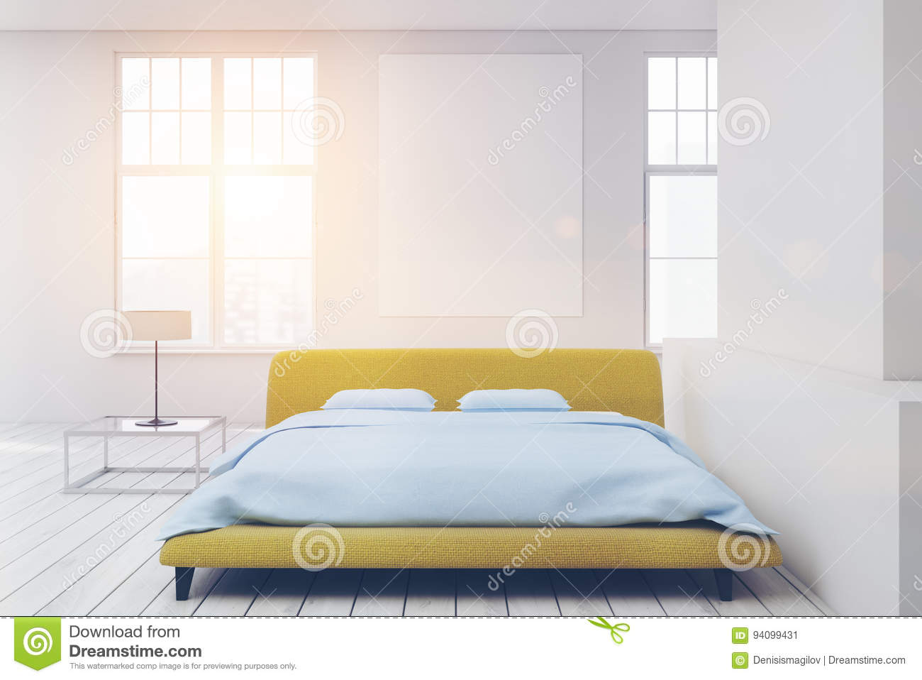 Yellow Bed White Floor, Poster Toned Stock Illustration ...