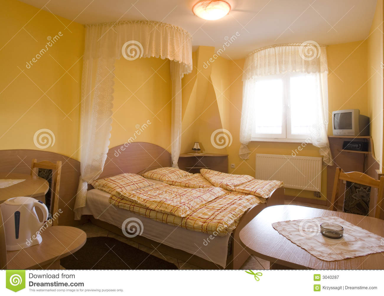 Yellow bedroom stock image. Image of yellow, table, indoors - 3040287