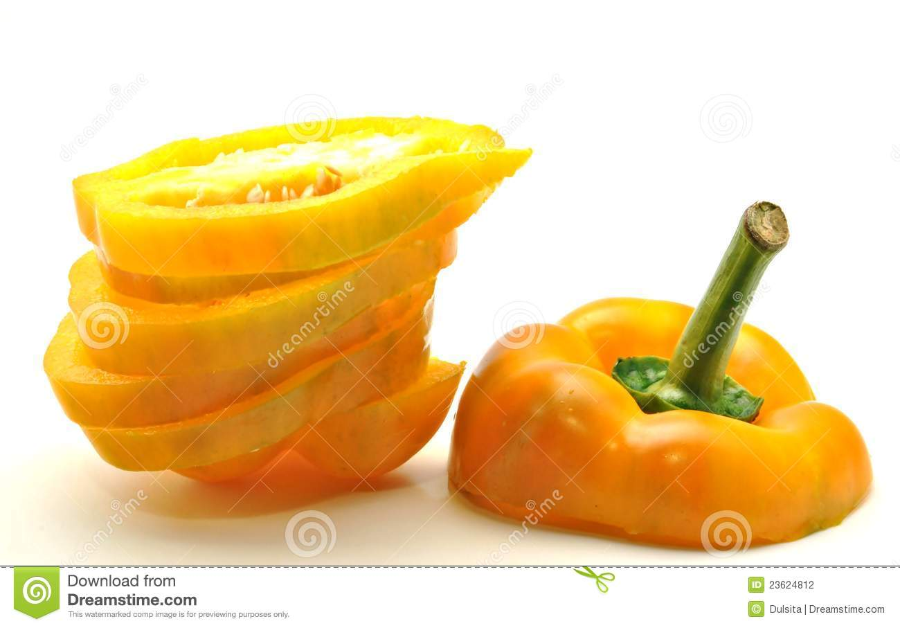 Yellow Bell Pepper Sliced Stock Photography Image: 23624812 - 1300x907 ...