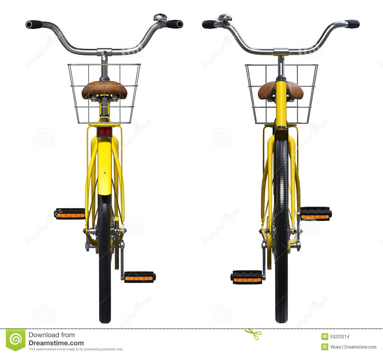 Yellow Bicycle Front And Back View Stock Photo Image 53223214