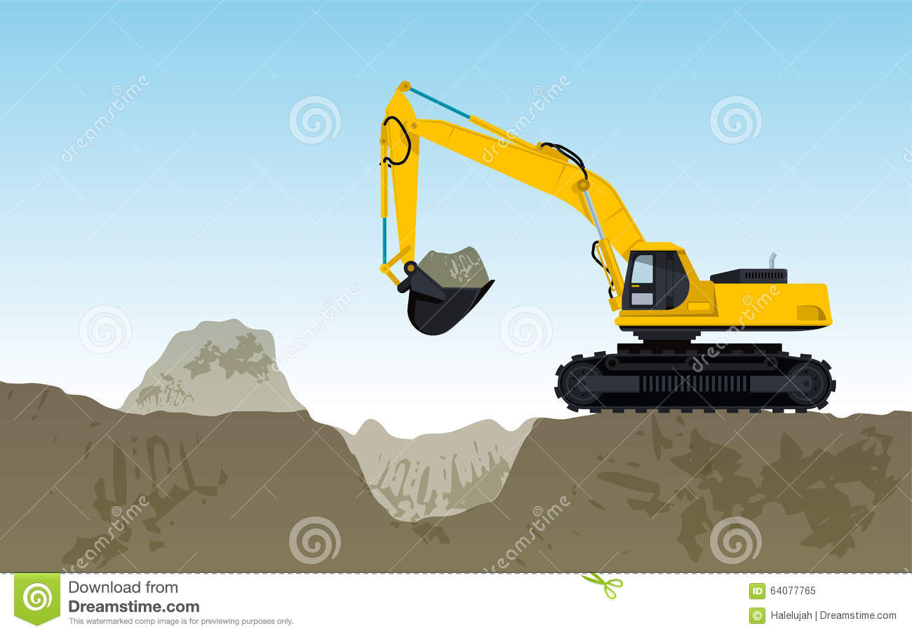 Yellow Big Digger Builds Roads Gigging Of Hole Stock