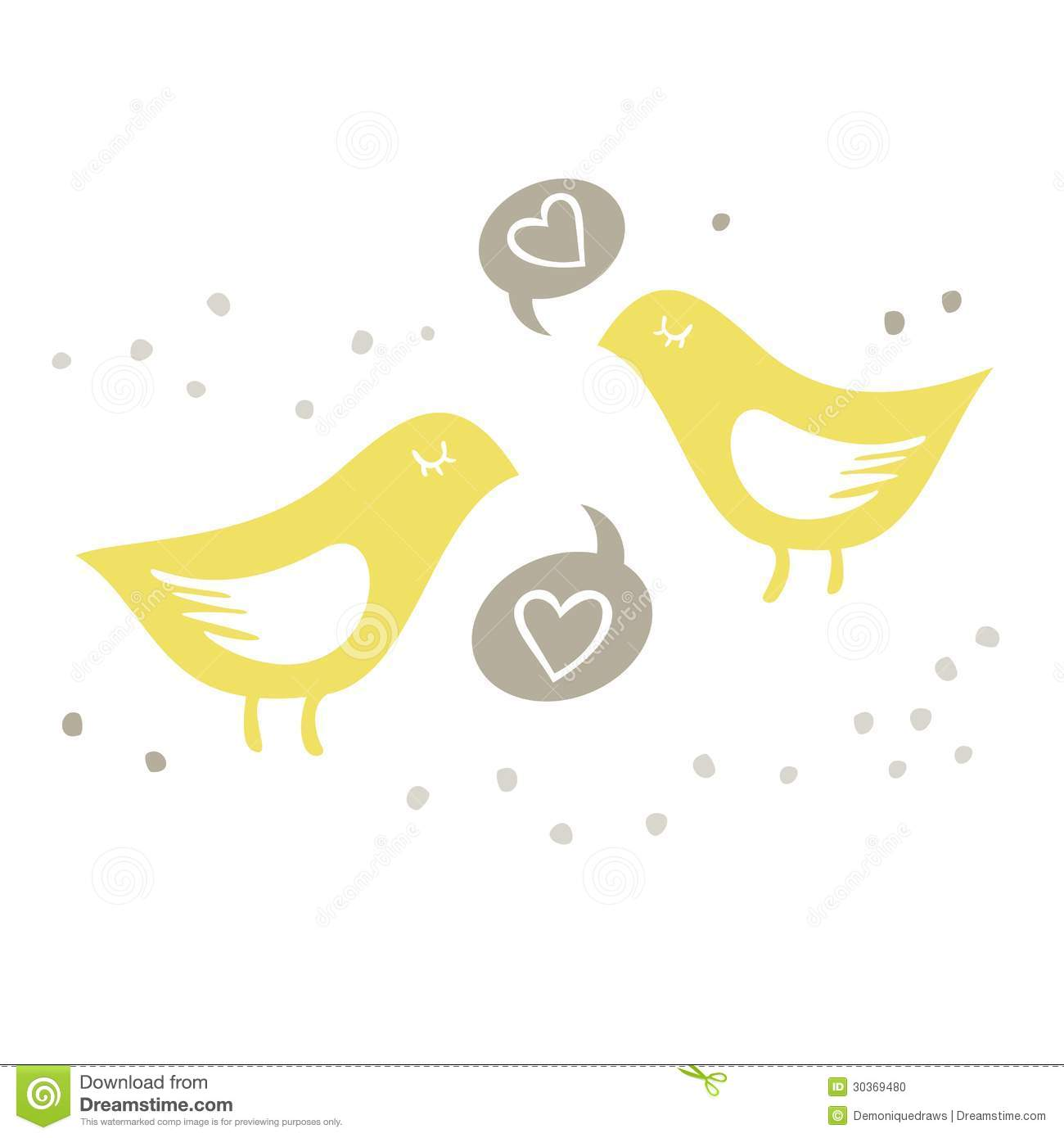 Yellow Birds Singing Of Love On White Background Stock ...