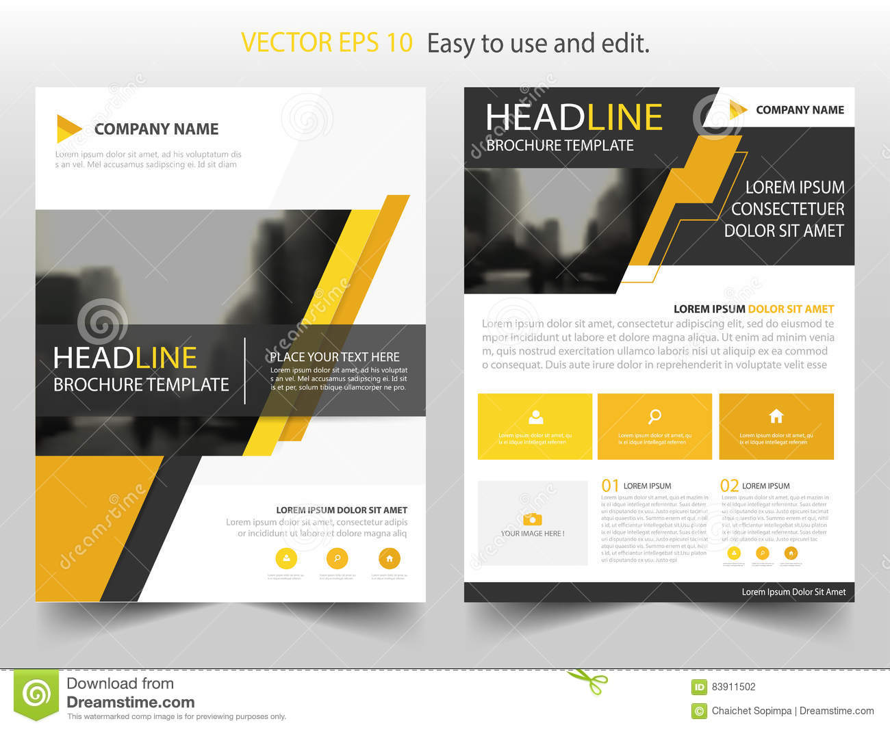 yellow black abstract brochure annual report flyer design template, Presentation Abstract Template, Presentation templates