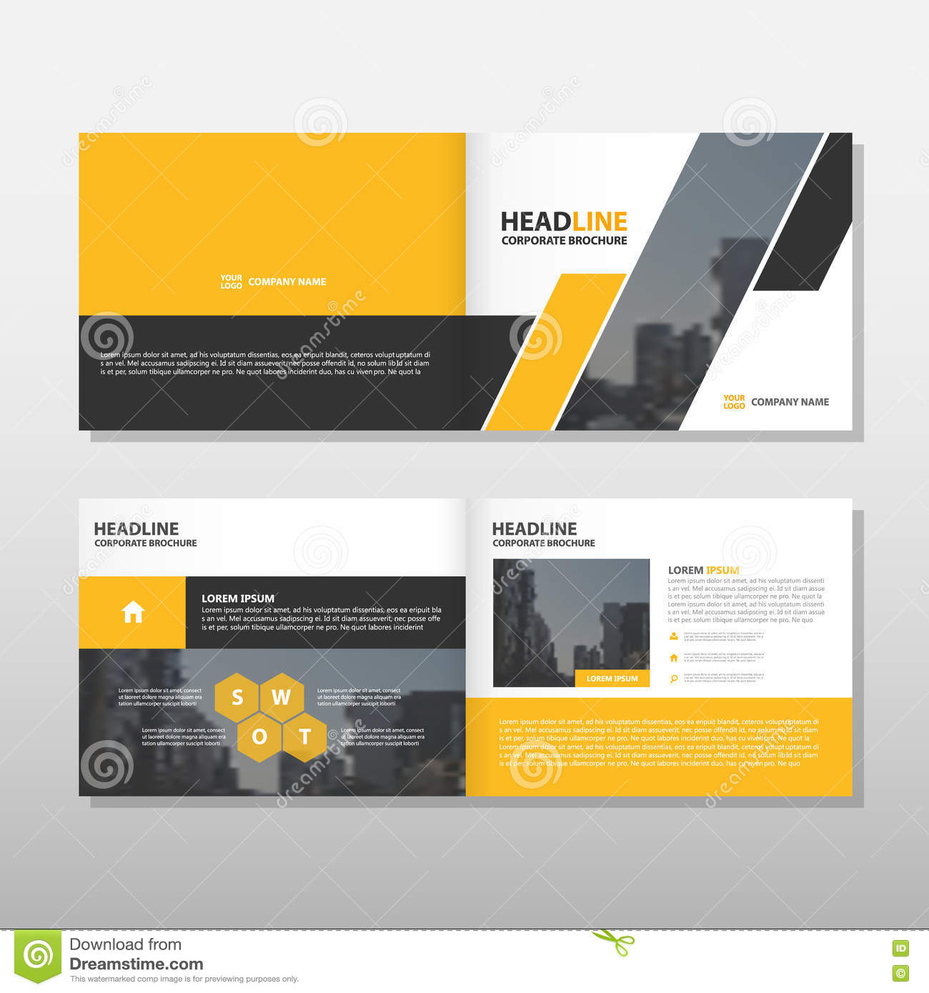 yellow black annual report leaflet brochure flyer template design book cover layout design abstract business presentation