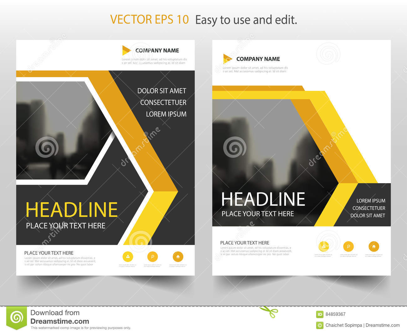 Yellow Book Cover Design : Yellow black geometric vector annual report leaflet