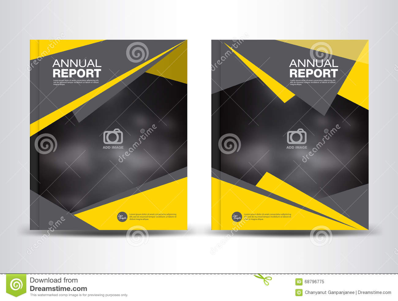 Yellow And Black Annual Report Template Vector Illustration