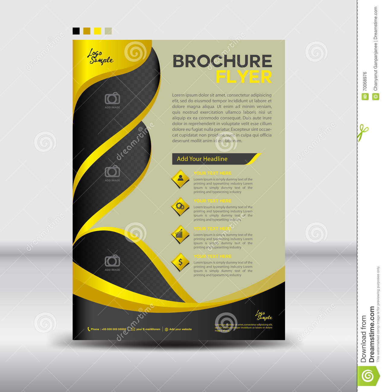 Yellow And Black Brochure Flyer Template,newsletter Design