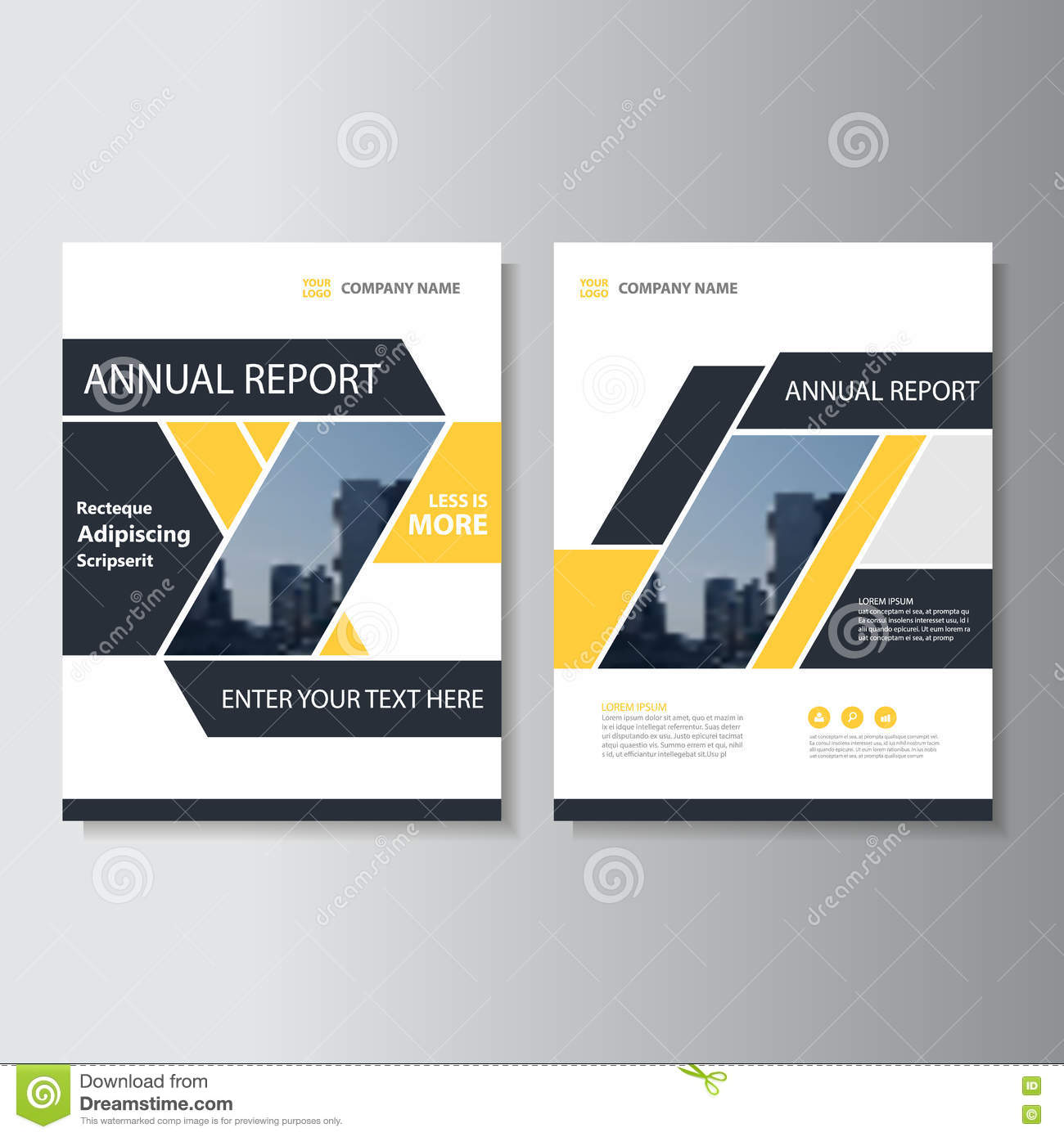 Black Book Cover Design ~ Yellow black abstract brochure annual report flyer design