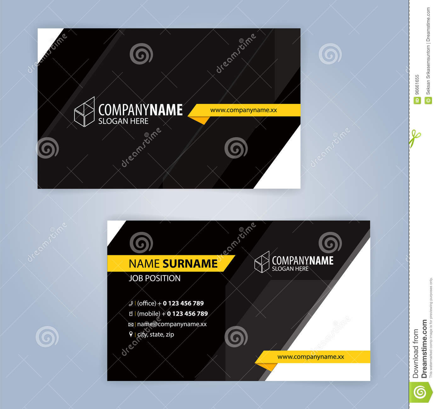 Yellow and black modern business card template stock vector download yellow and black modern business card template stock vector illustration of flat option colourmoves
