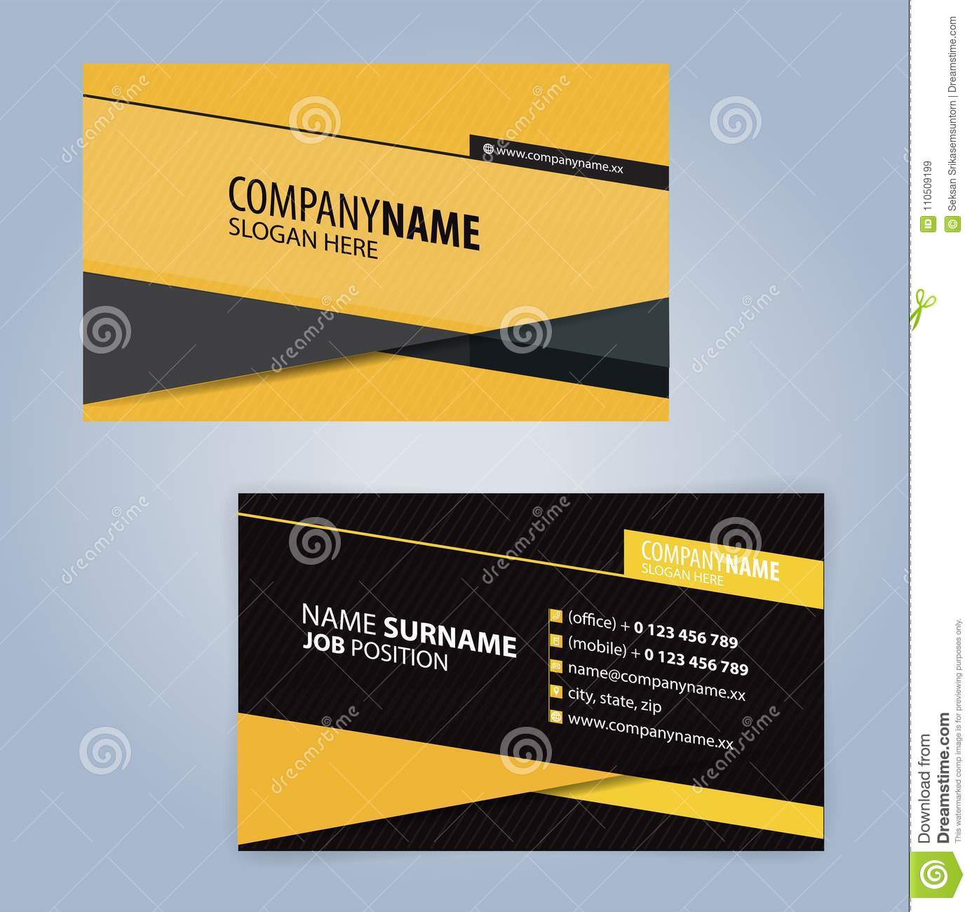 Yellow And Black Modern Business Card Template Stock Vector ...
