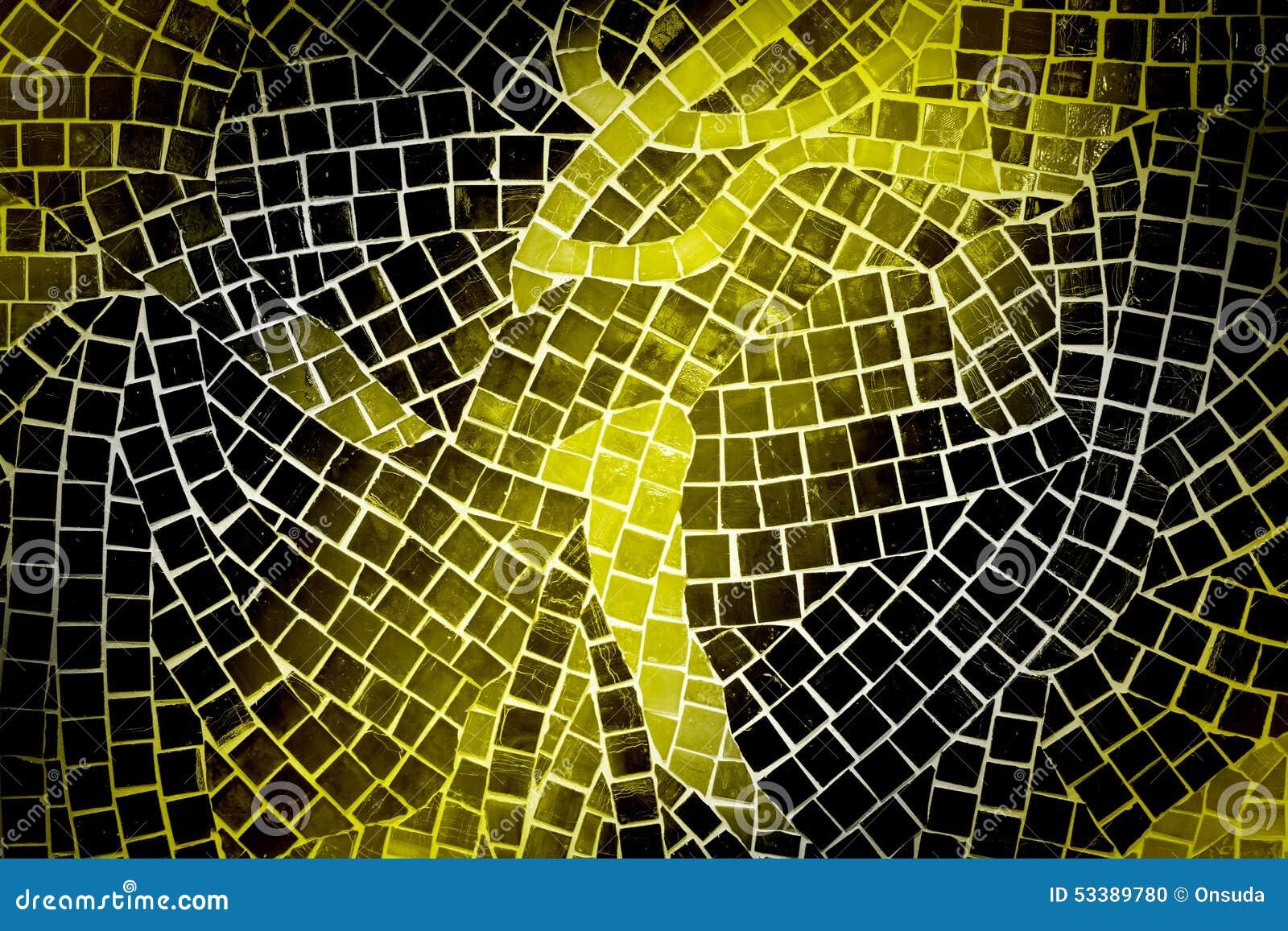 Yellow And Black Mosaic Tile Wall Stock Photo - Image of interior ...