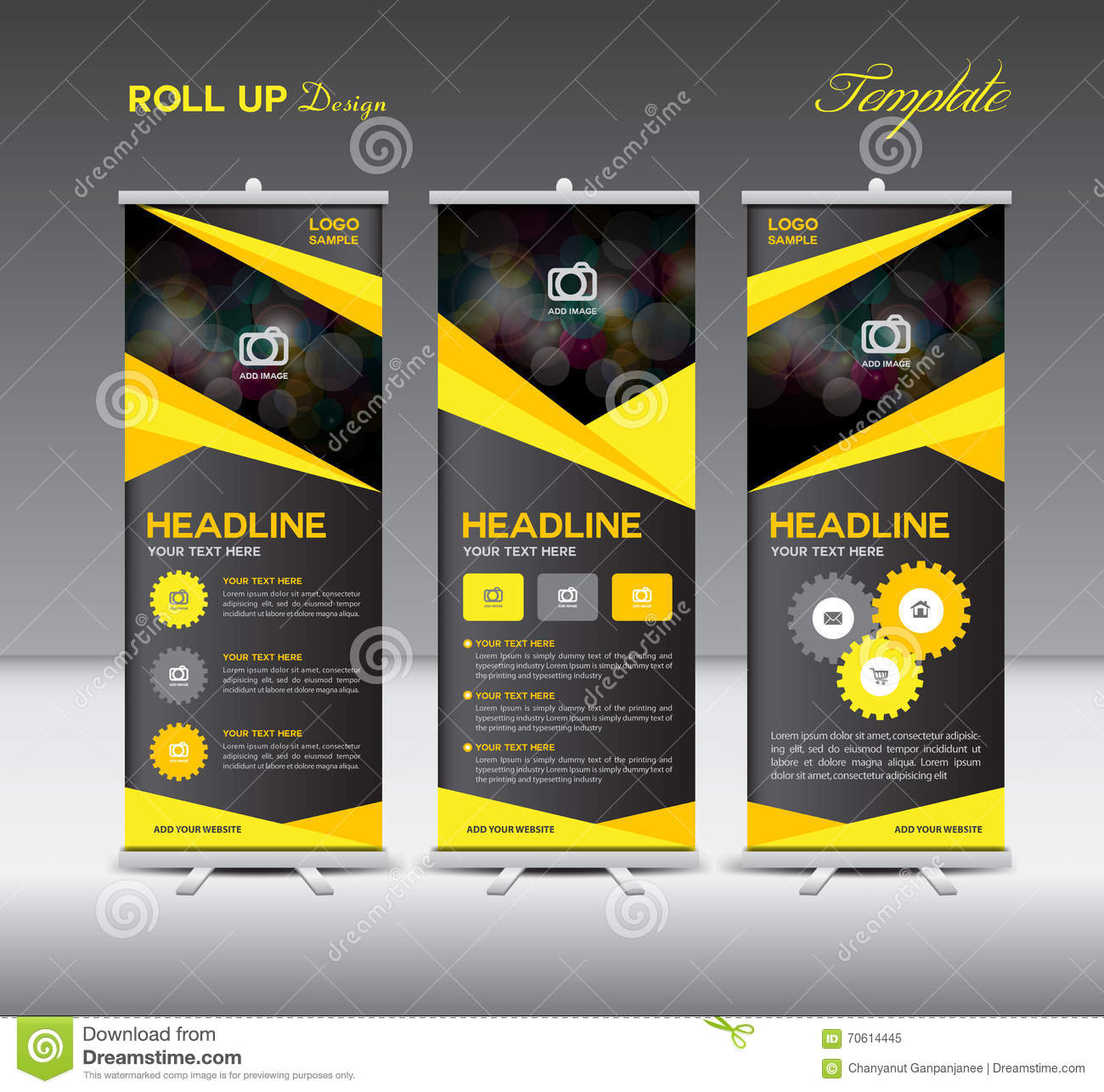 Yellow And Black Roll Up Banner Template And Info Graphics