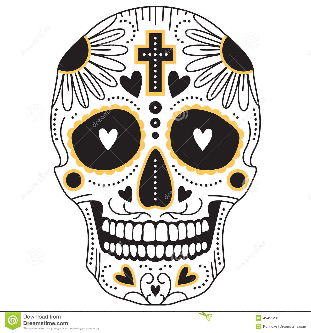 Yellow And Black Sugar Skull Stock Vector Image 45451201