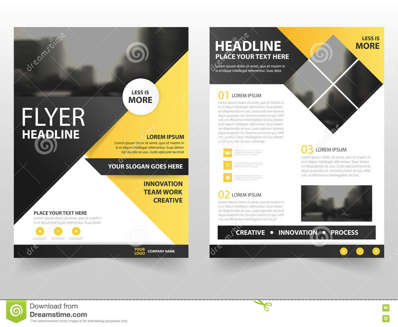 Yellow black triangle business brochure leaflet flyer for Brochure cover designs