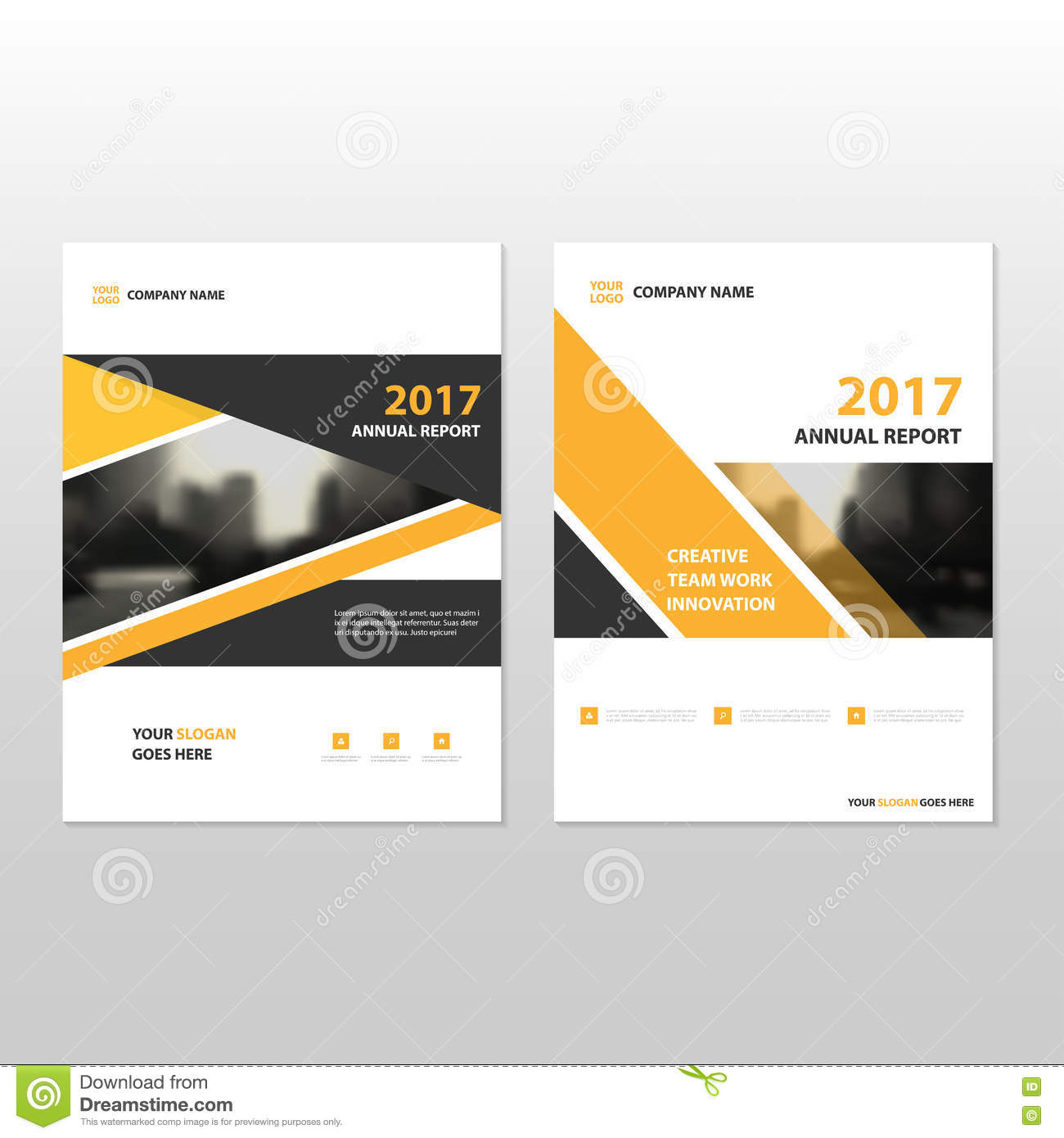 Yellow Black Triangle Vector Annual Report Leaflet Brochure Flyer Template  Design, Book Cover Layout Design  Annual Report Cover Page Template