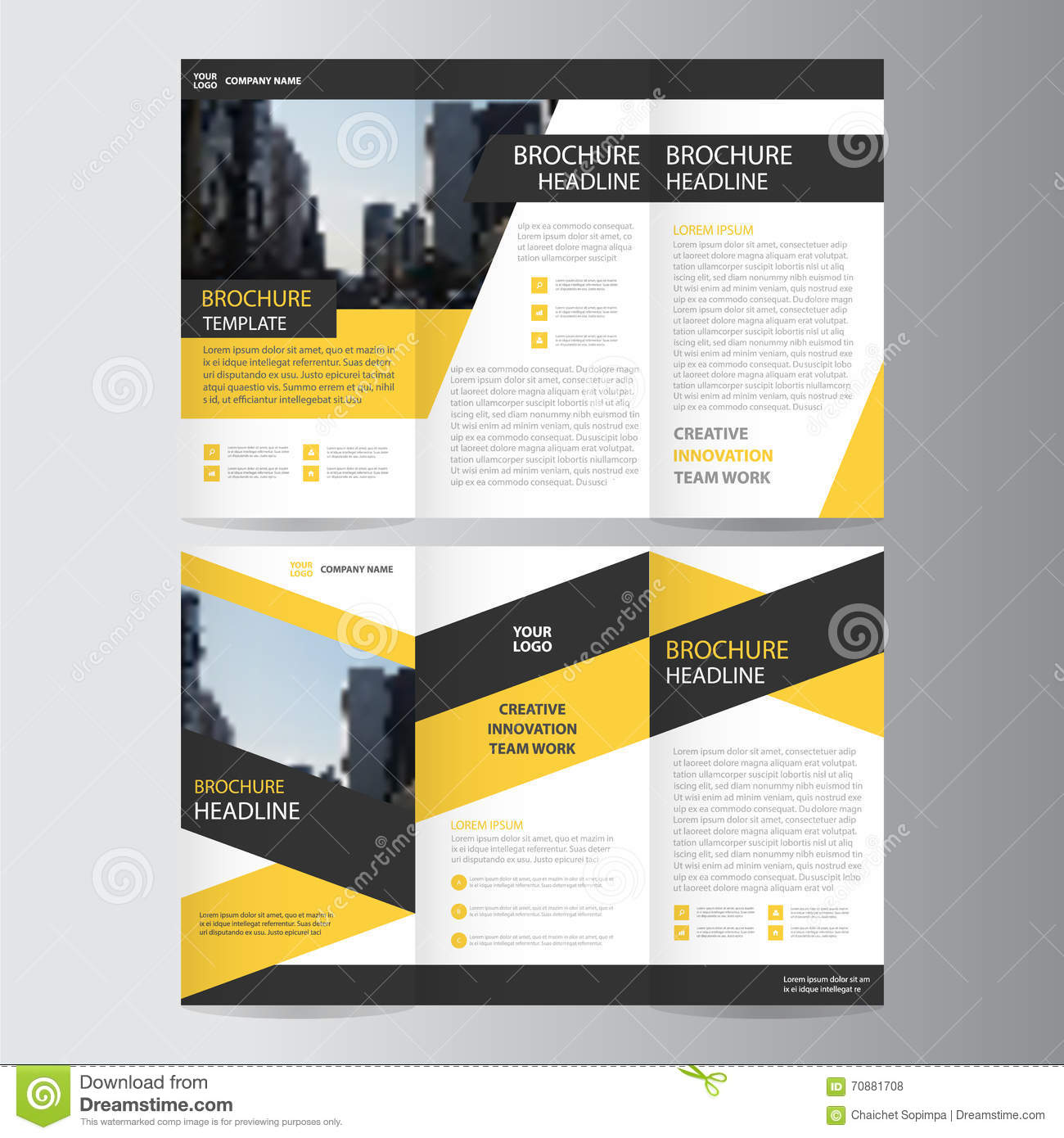 blue business trifold leaflet brochure flyer template design book yellow black trifold leaflet brochure flyer template design book cover layout design royalty stock