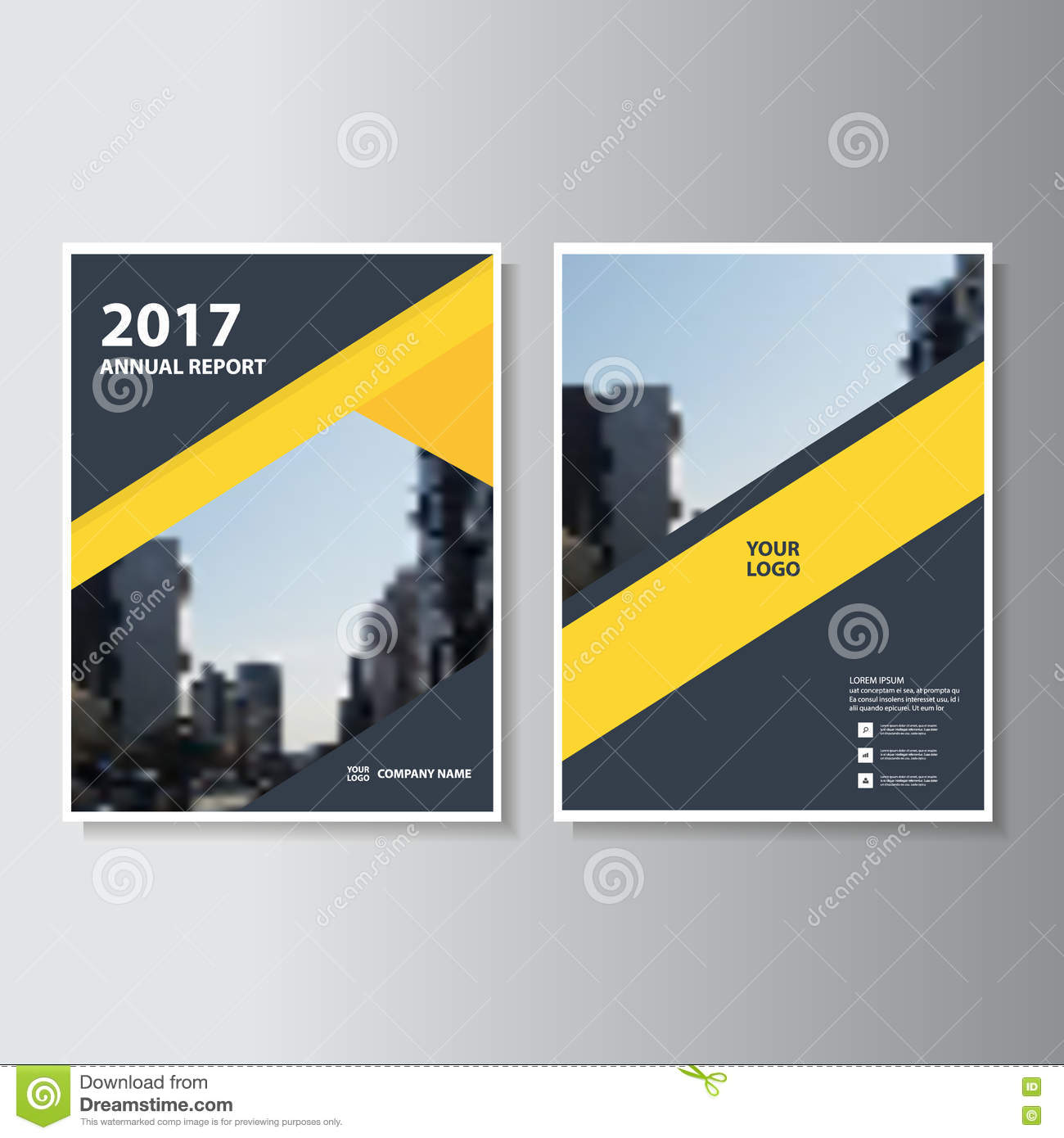 Book With Black And Yellow Cover : Yellow black geometric vector annual report leaflet