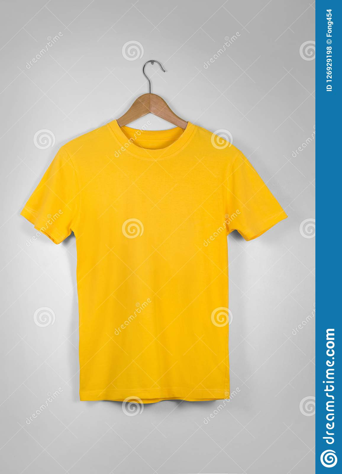 Yellow Blank Cotton Tshirt Hanging Center Gray Concrete Empty Wa