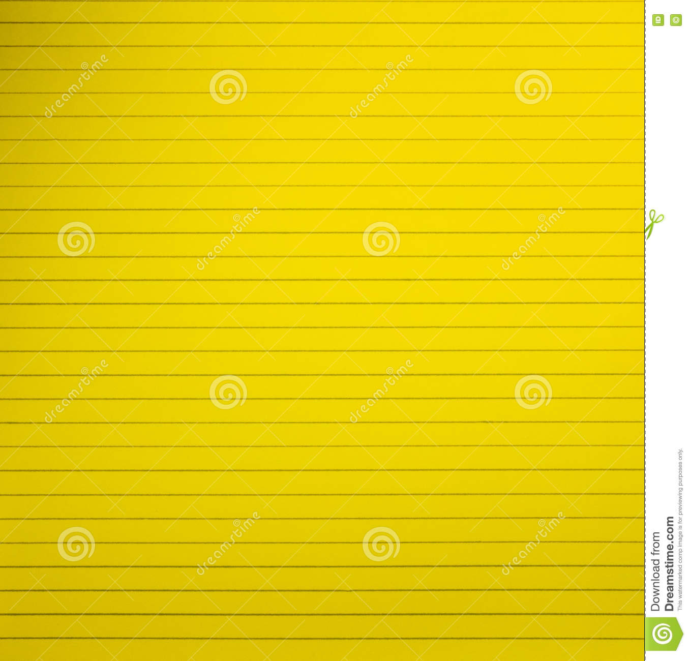 Yellow Blank Lined Notebook Paper Page Stock Photo Image Of Note