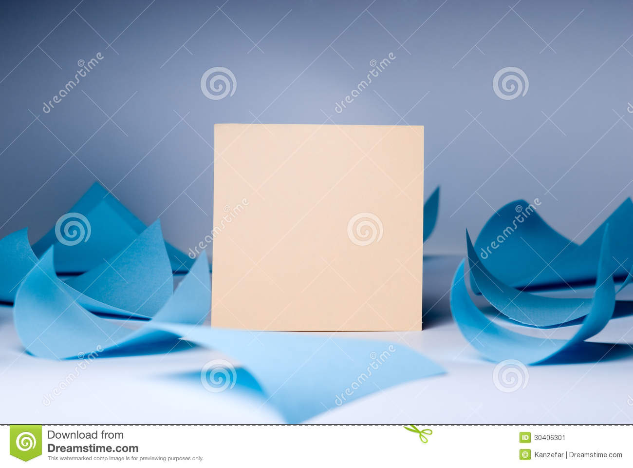 Yellow blank sheet for records amid swirling blue sheets lying