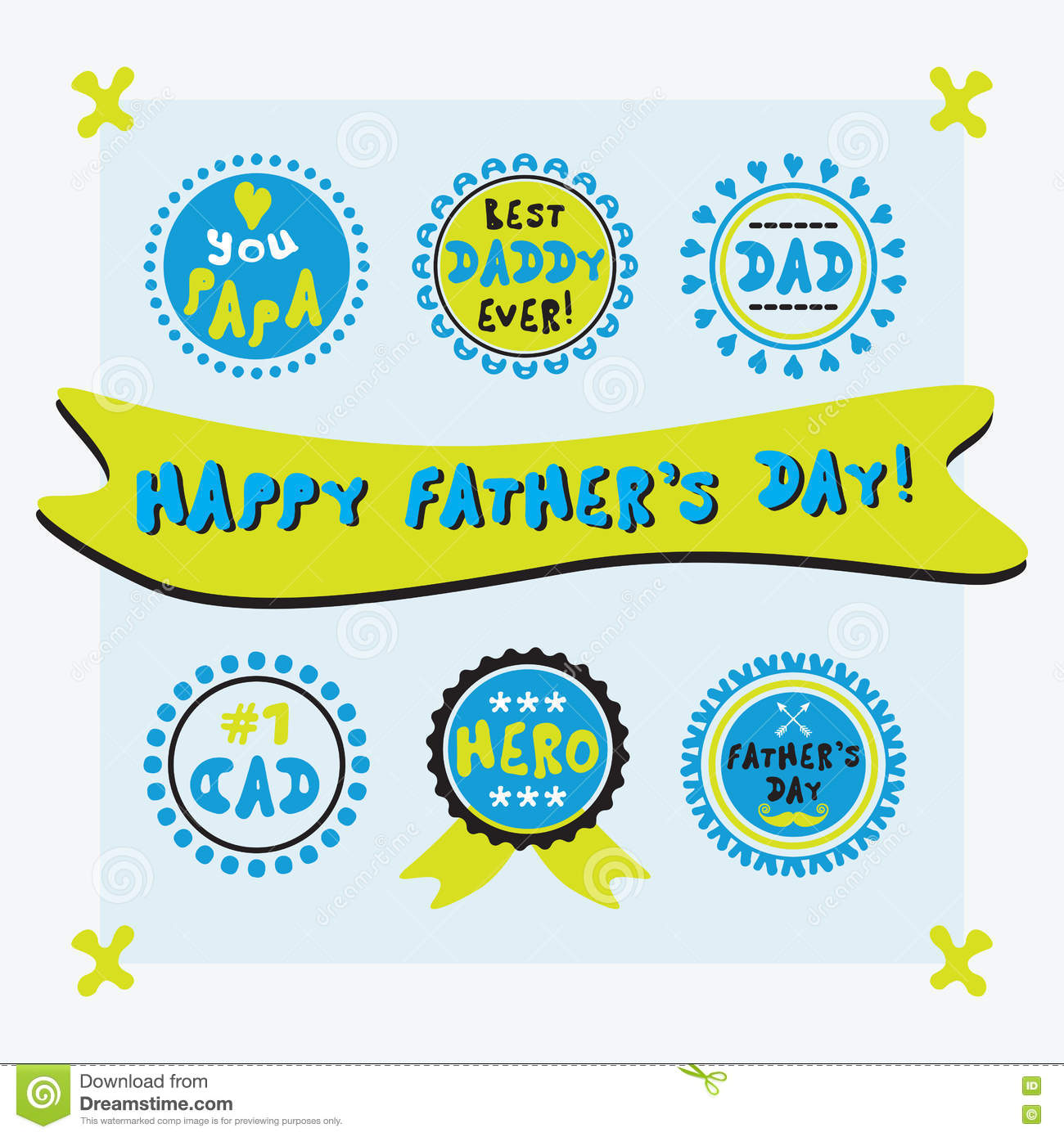 yellow and blue cute circle father u0026 39 s day emblems and