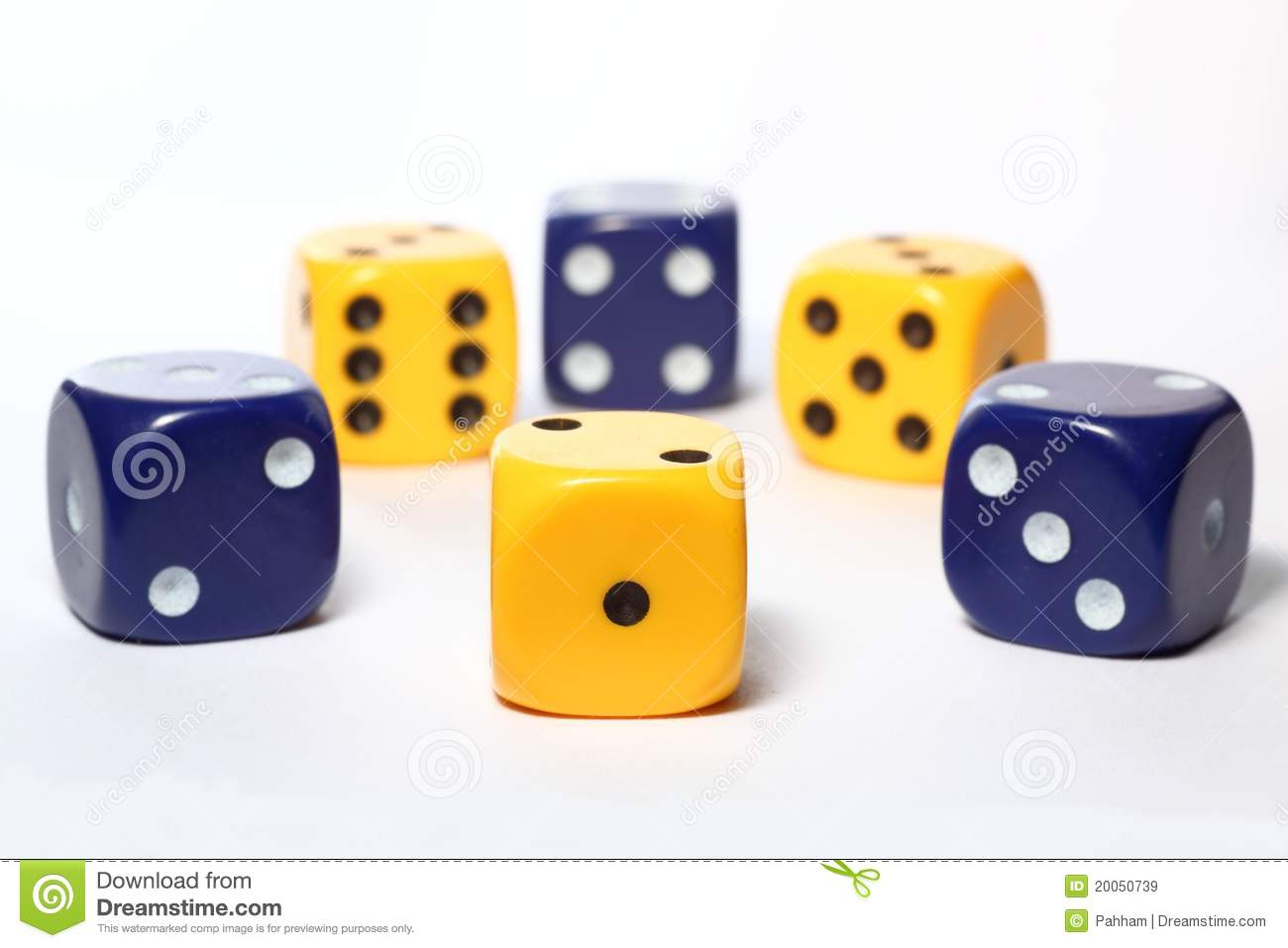 Yellow and blue dice