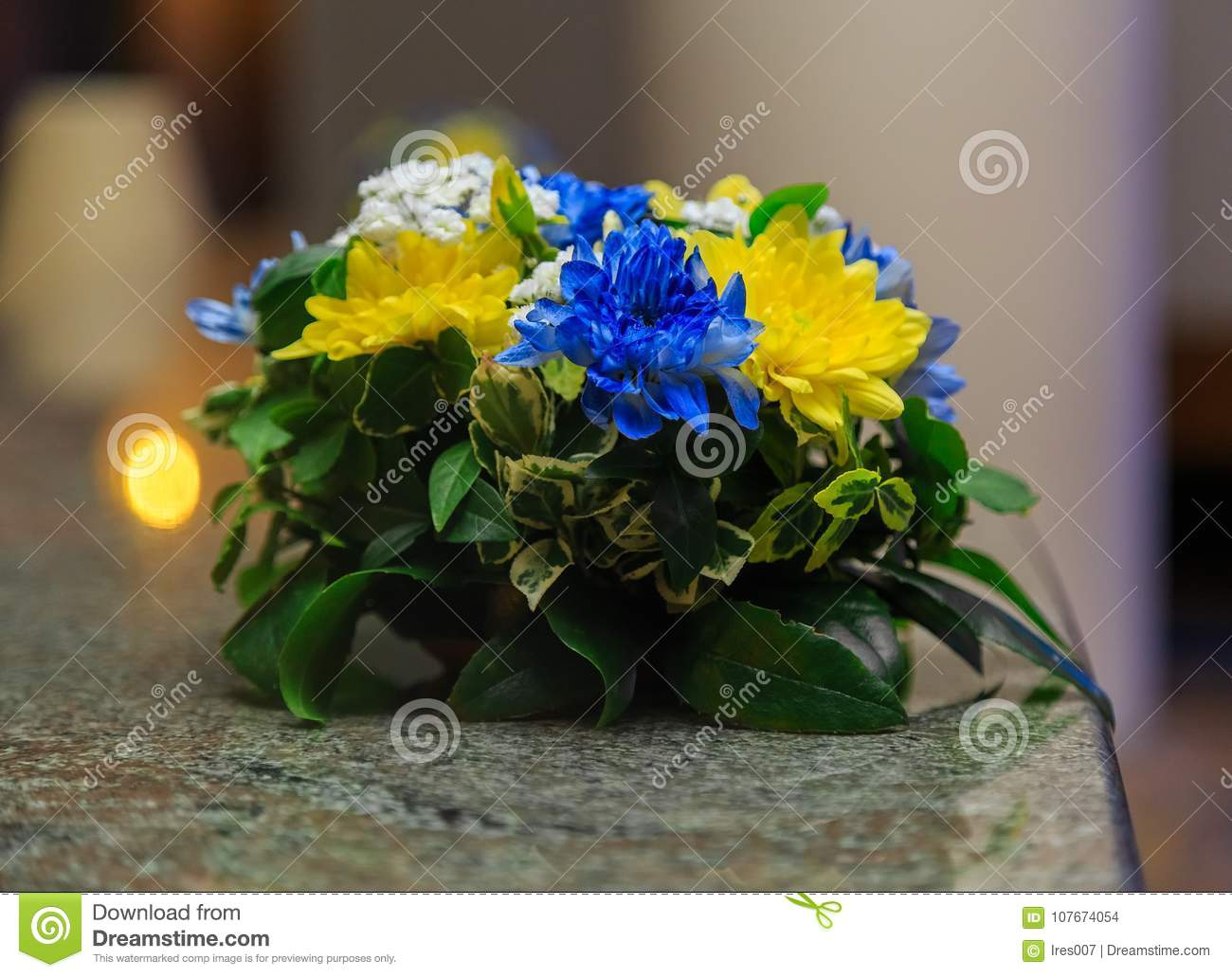Yellow Blue Flower Arrangement Stock Photo Image Of Beauty Plant