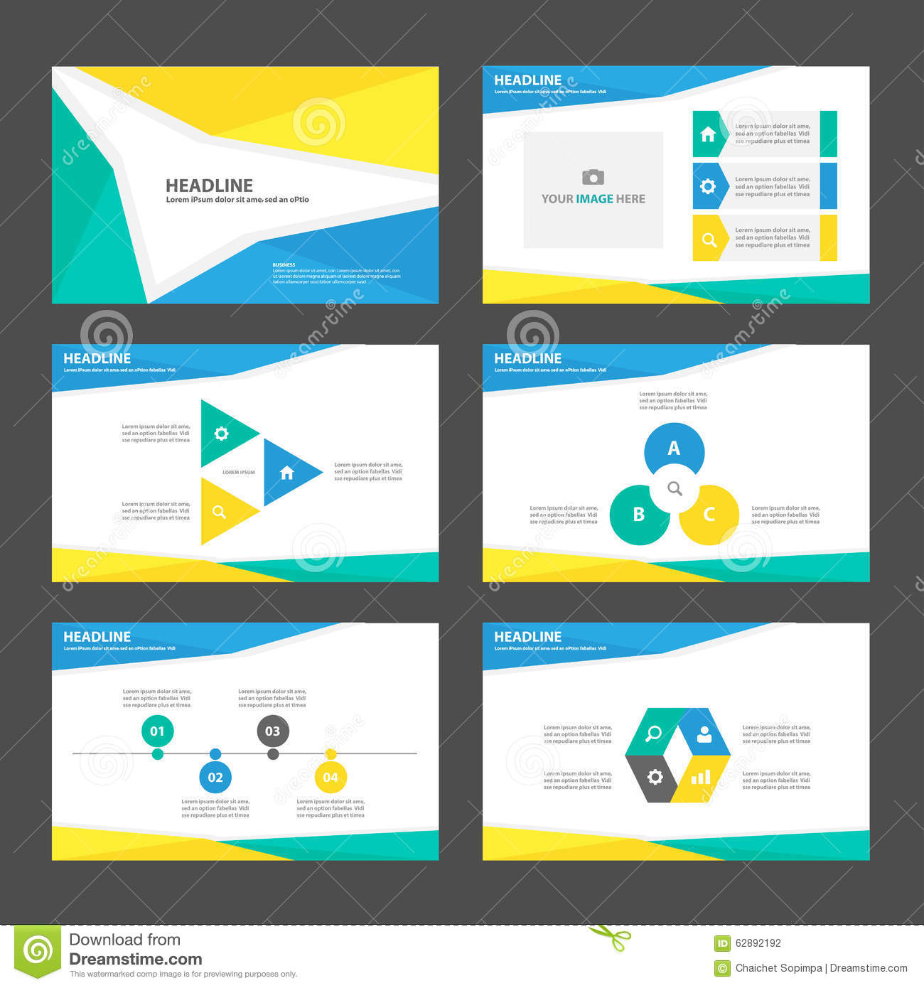 yellow blue green presentation template infographic elements flat design set for brochure flyer. Black Bedroom Furniture Sets. Home Design Ideas