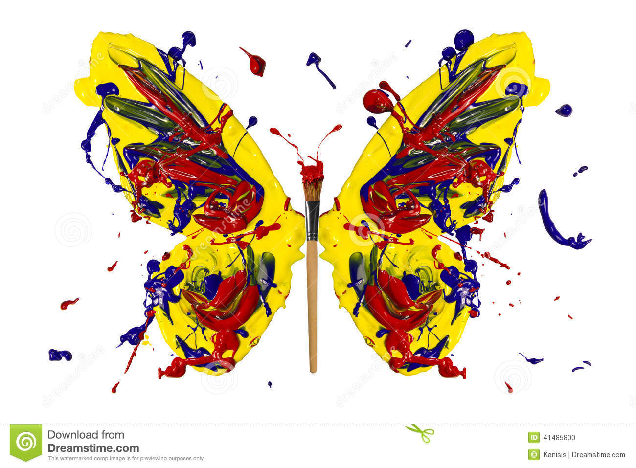 Yellow blue red paint made butterfly