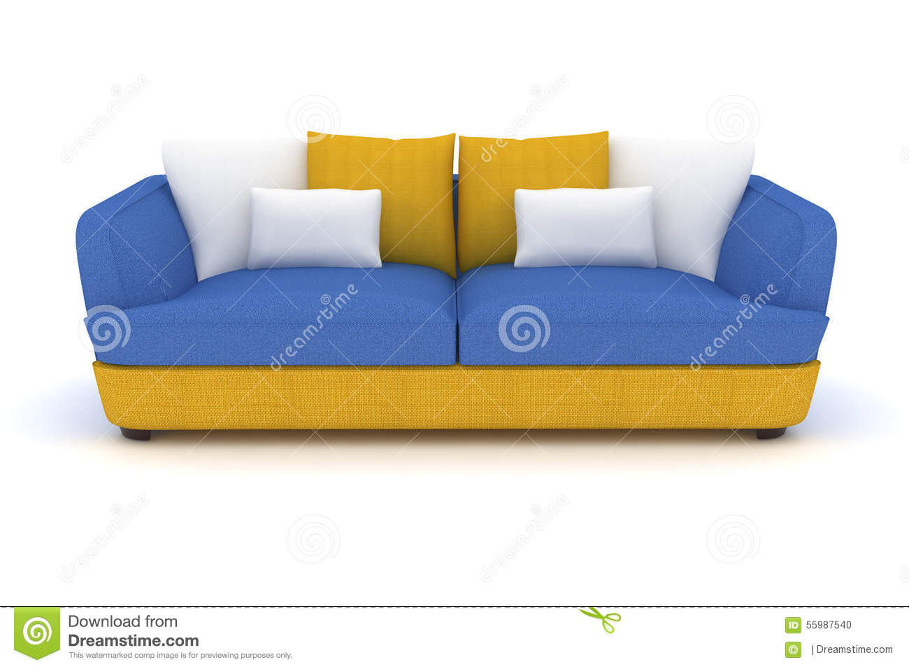 Yellow Blue Sofa With White Pillows Stock Illustration  : yellow blue sofa white pillows 55987540 from dreamstime.com size 1300 x 957 jpeg 88kB