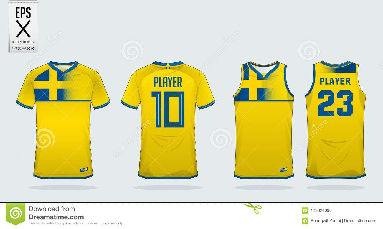 7d629346a Yellow And Blue T-shirt Sport Design Template For Soccer Jersey ...
