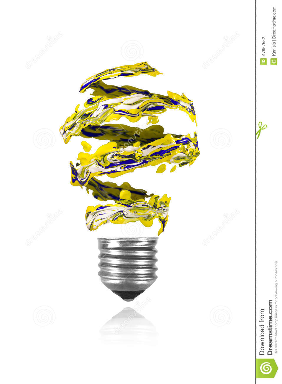 Yellow blue white spiral paint trace made light bulb