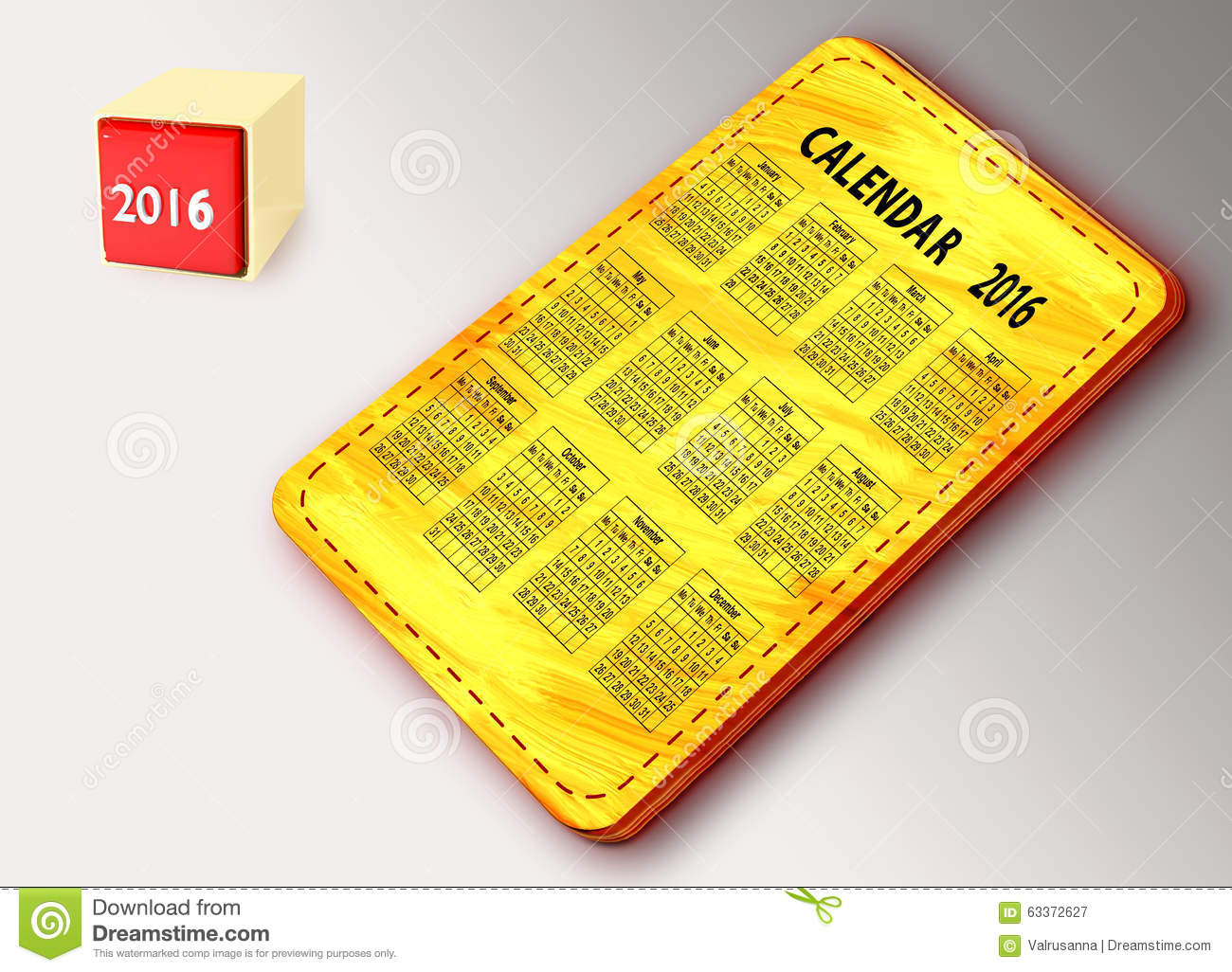 Calendar Illustration Board : Yellow board with calendar stock illustration image