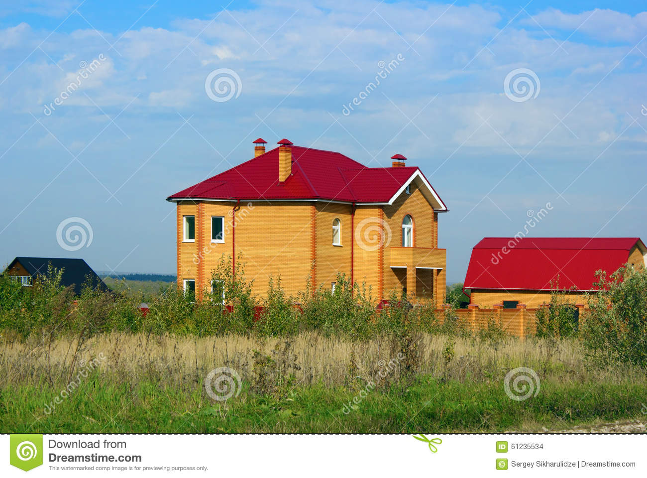 Yellow brick house with red roof stock photo image 61235534 for Yellow and red house