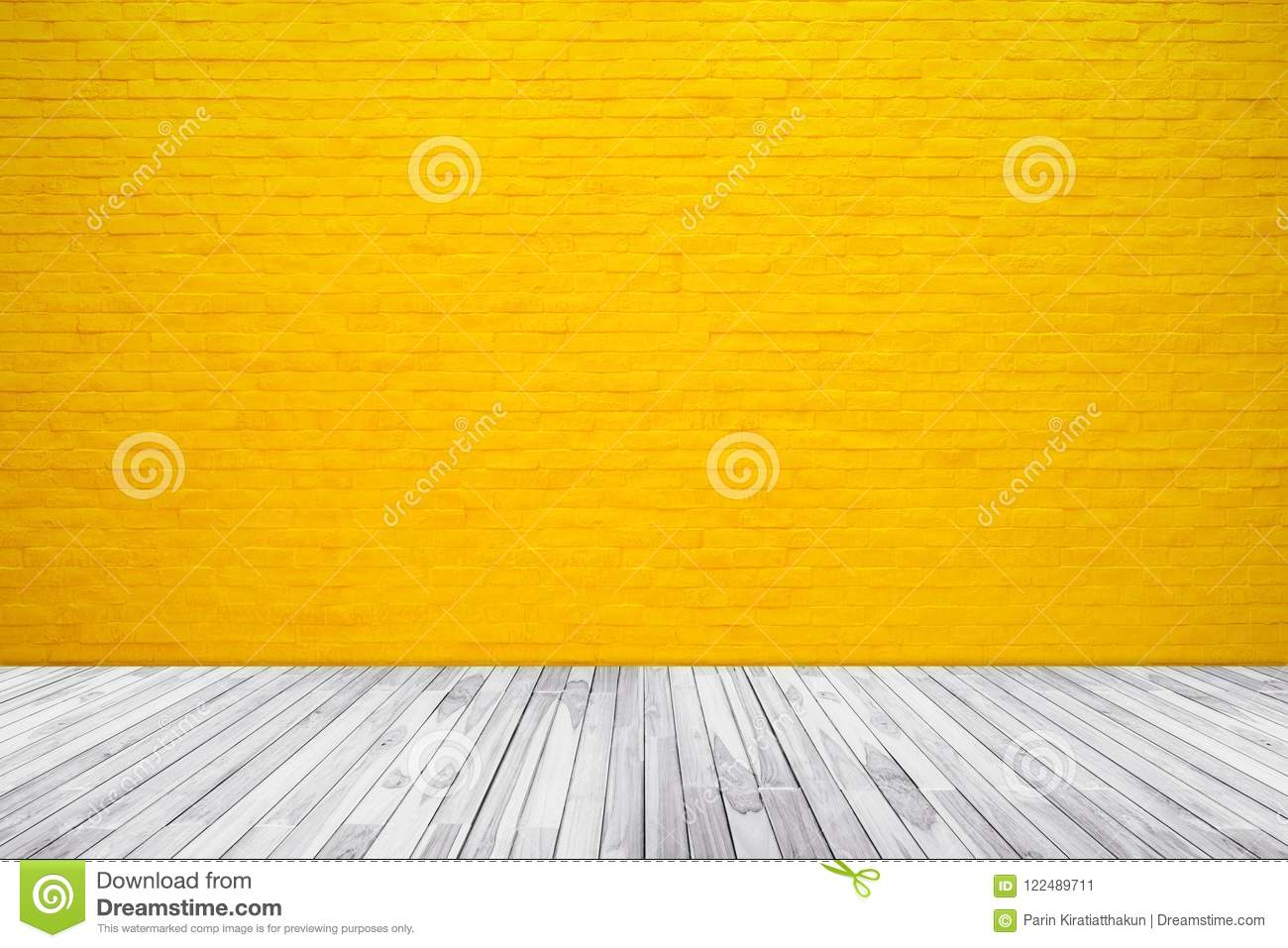 Yellow Brick Wall Texture With Wood Floor Background Stock Image ...
